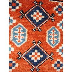 Indo Kazak Hand-knotted Rust/ Ivory Rug (2' x 3')