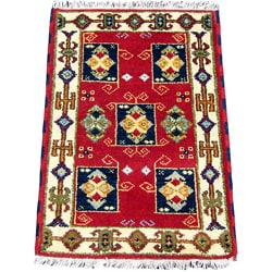 Indo Kazak Hand-Knotted Red/Ivory Area Rug (2' x 3')