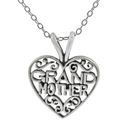 Tressa Sterling Silver Grandmother in Heart Necklace