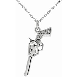 Tressa Sterling Silver Hand Gun Necklace