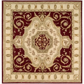 Nourison Hand-tufted Wine Floral Wool Rug (7 x 7) Square