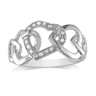 Miadora 10k White Gold Diamond Interlocking Hearts Ring (H-I,I1-I2)