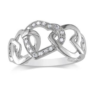 Miadora 10k White Gold Diamond Interlocking Hearts Ring (H-I,I1-I2)