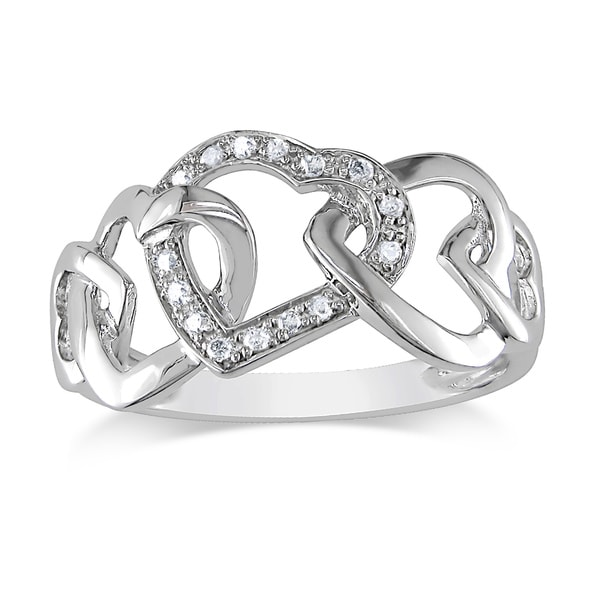 Haylee Jewels 10k White Gold Diamond Interlocking Hearts Ring (H-I,I1-I2)