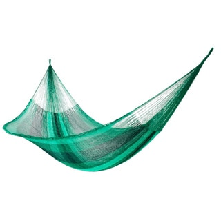 Caribbean Dream Outdoor Garden Patio Pool Multi Shades of Green Stripe Handmade Knotted Rope Style Nylon Double Hammock (Mexico)