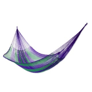 Hand-woven Large Deluxe Green Vineyard Hammock (Mexico)