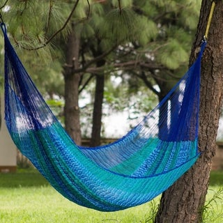 Hand-woven Large Deluxe Cool Lagoon Nylong Camping Style Hammock (Mexico)
