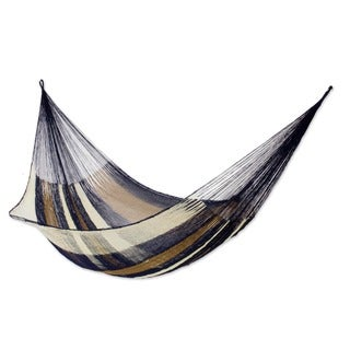 Atlantis Outdoor Garden Patio Pool Durable Blue Brown White Stripe Handmade Knotted Rope Style Nylon Double Hammock (Mexico)