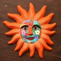 Ceramic 'Orange Sun' Mask (Mexico)