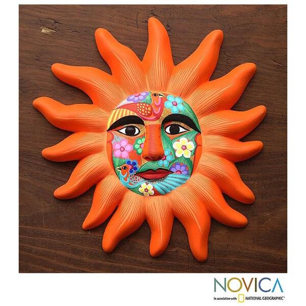 Ceramic 'Orange Sun' Mask (Mexico)