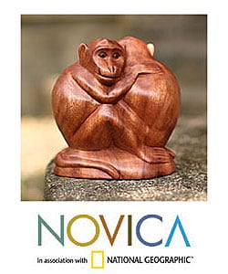 'Romancing Monkey' Wood Statuette (Indonesia)