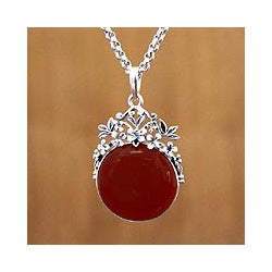 Carnelian 'Floral Sun' Necklace (Indonesia)