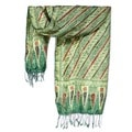 Jade Princess Hand Stamped Artisan Batik Green Cream Red Black Light Weight 100% Silk Knotted Fringe Womens Scarf (Indonesia)