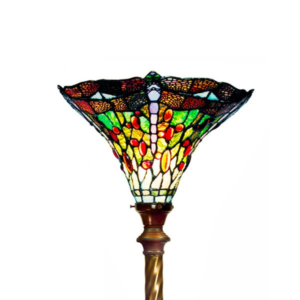 Tiffany-style Green Dragonfly Torchiere