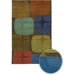 """Hand-tufted Contemporary Mandara Collection Multicolored Rug (5' x 7'6"""")"""