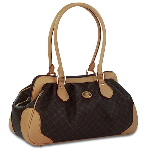 Rioni Signature Brown Satchel Shoulder Handbag