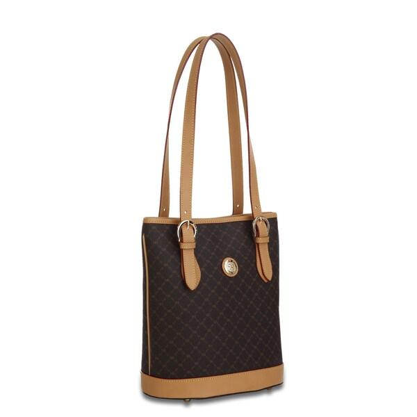 Rioni Signature Brown Shoulder Bucket Handbag