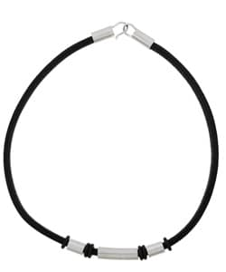 Black Leather with Stainless Steel Cylinder Necklace