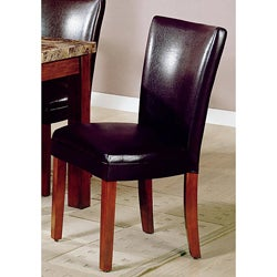 Dark Brown Bicast Leather Parson Chairs (Set of 2)