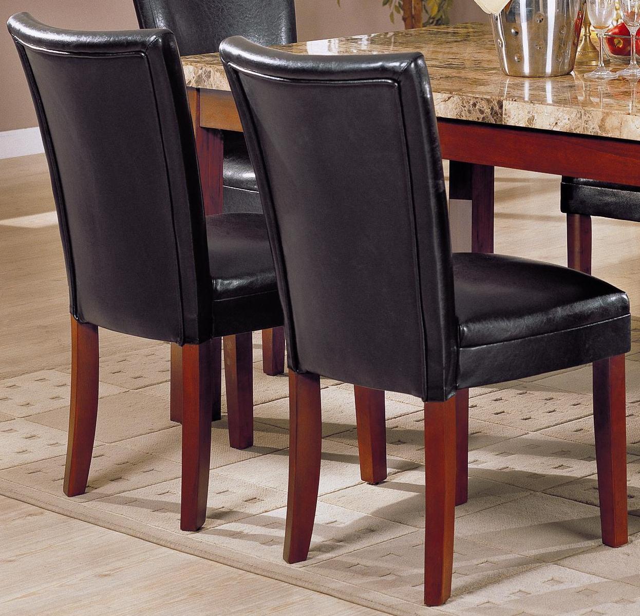 Black Bi-cast Leather Parson Chair (Set of 2)