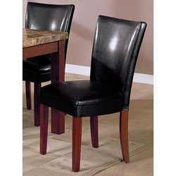 Black Bi-cast Leather Parson Chair (Set of 2)