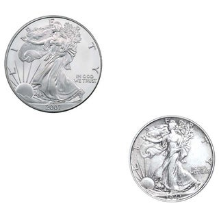 American Silver Eagle and Walking Liberty Half Dollar