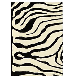 Handmade Soho Zebra Ivory/ Black New Zealand Wool Rug (7'6 x 9'6)