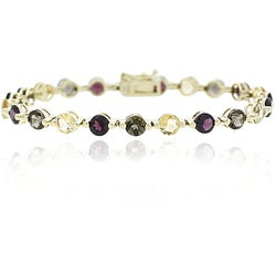 Glitzy Rocks 18k Gold Overlay Citrine, Garnet and Smokey Quartz Bracelet