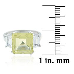 Glitzy Rocks Sterling Silver Lime Quartz and CZ Ring
