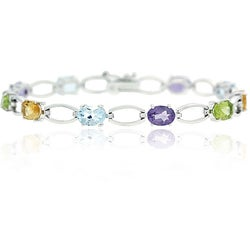Glitzy Rocks Sterling Silver Multi-colored Gemstone Bracelet