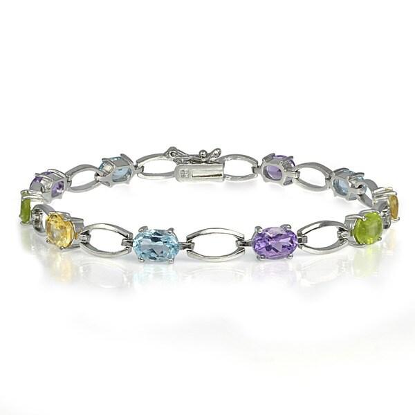 Glitzy Rocks Sterling Silver Multi-colored Gemstone Bracelet