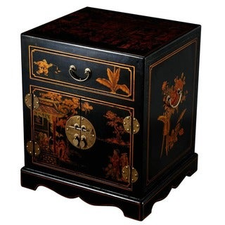 Hand-painted Oriental End Table / Nightstand - Black