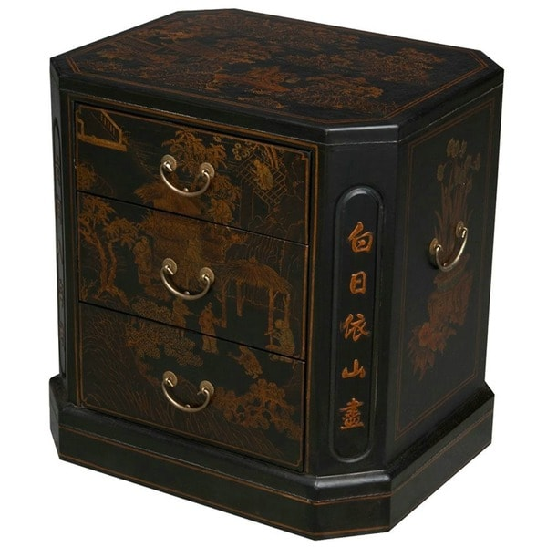 Hand-painted Oriental Accent End Table - Black