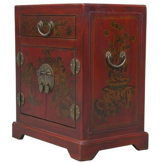 Hand-painted Red Bonded Leather Oriental Accent End Table