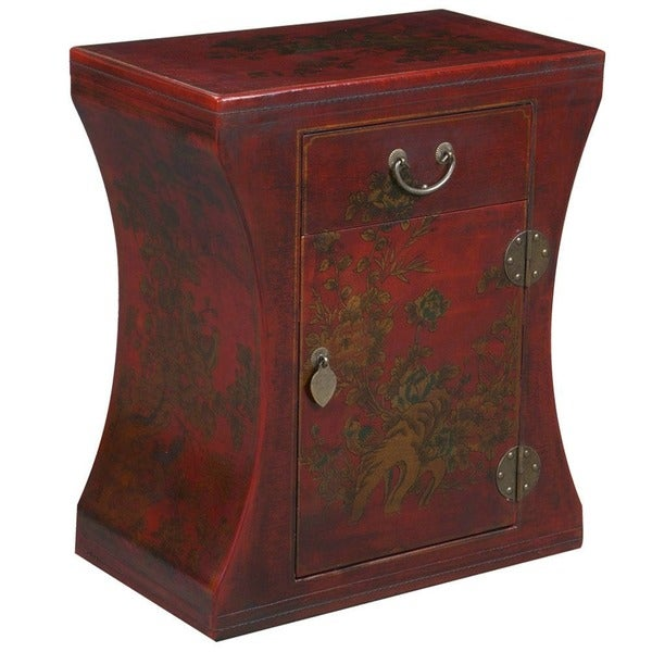 Hand-painted Oriental Accent End Table - red