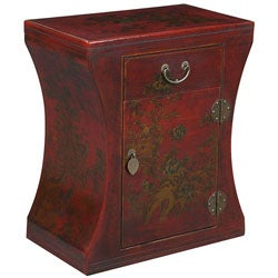 Red Bonded Leather Hand-painted Oriental Accent End Table