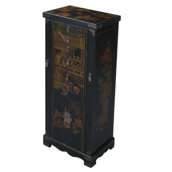 Hand-painted Oriental Jewelry Armoire - Black