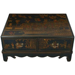 Black Bonded Leather Hand-painted Oriental Coffee Table