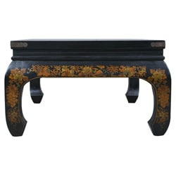 Hand-painted Black Bonded Leather Oriental Coffee Table