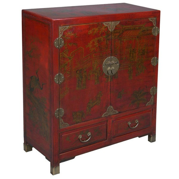 Hand painted oriental storage cabinet red 11366931 for Hand painted oriental furniture
