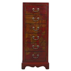 Hand-painted Red Bonded Leather Oriental Accent Table