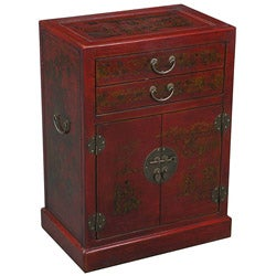 Hand-painted Oriental Red Leather Wine Bar Cabinet