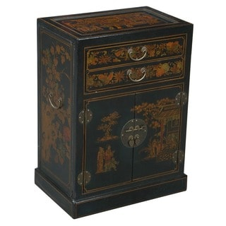 Hand-painted Black Leather Wine Bar Storage Cabinet