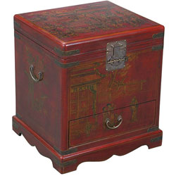 Hand-painted Red Bonded Leather End Table Storage Chest