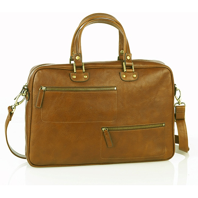 Aston Leather Women's Classic English Briefcase Tote Bag