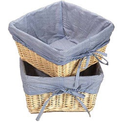 Natural Basket Set with Navy Gingham Liners