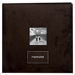 'Memories' Brown Faux Suede 12x12 Album with 40 Bonus Pages