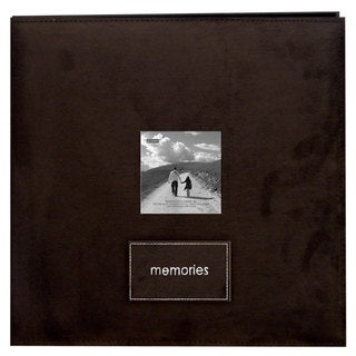 'Memories' Brown Faux Suede 12x12 Album with 40 Bonus Pages