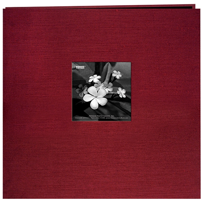 Silk Fabric Frame Cranberry 12x12 Album with 40 Bonus Pages
