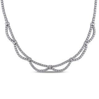 Miadora 18k White Gold 16 1/5ct TDW Diamond Necklace (F-I, VS-SI)